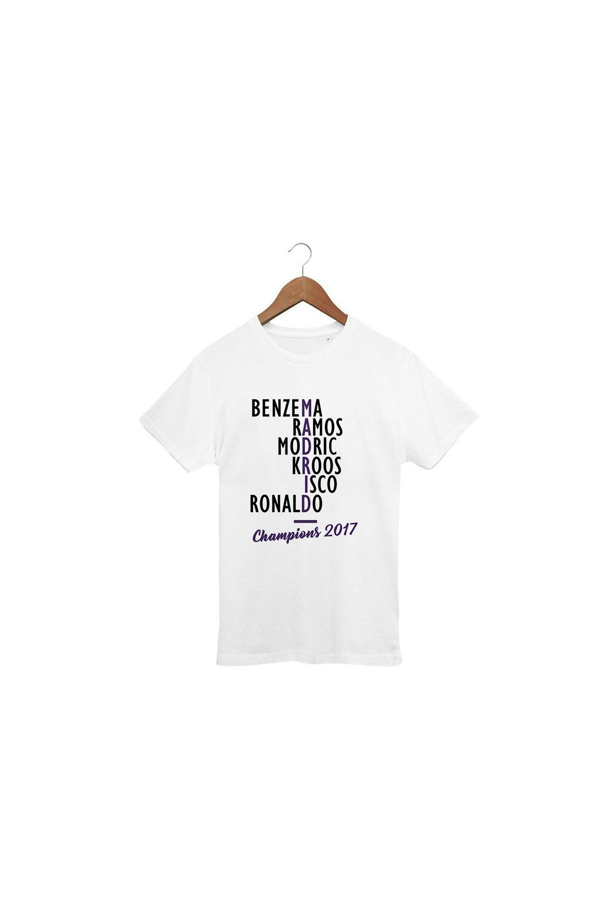 T-shirt blanc Real Madrid Champions 2017 - 100% Bio