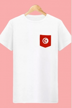 T-shirt Tunisie à Poche Blanc Coupe du monde Football tunisia