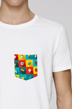 T-shirt Icones Football Blanc 100% Coton bio Made in France