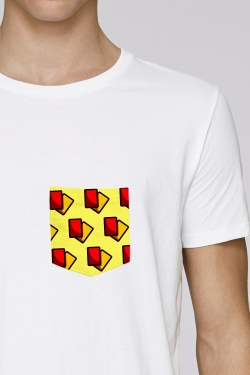 T-shirt Carton Rouge Carton Jaune Blanc 100% Coton bio - poche made in france